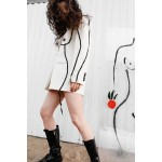 Creamy transformer jacket with feminine silhouette