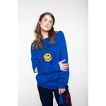 Blue merino wool sweater with handmade smile