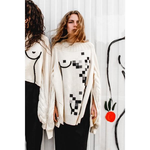Sweater with pixel feminine silhouette