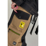 Two-tone trousers with detachable pockets