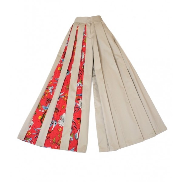 Cotton wide leg pants with patterned details