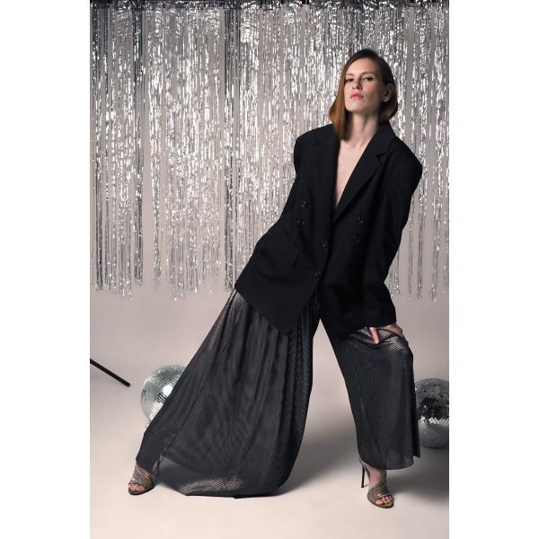 Silver black asymmetric pants