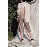 Cappucino linen-blend bermuda shorts