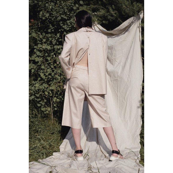 Beige linen-blend bermuda shorts