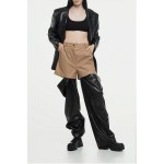 Faux leather transformer pants (beige + black)
