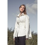 White denim shirt with corset