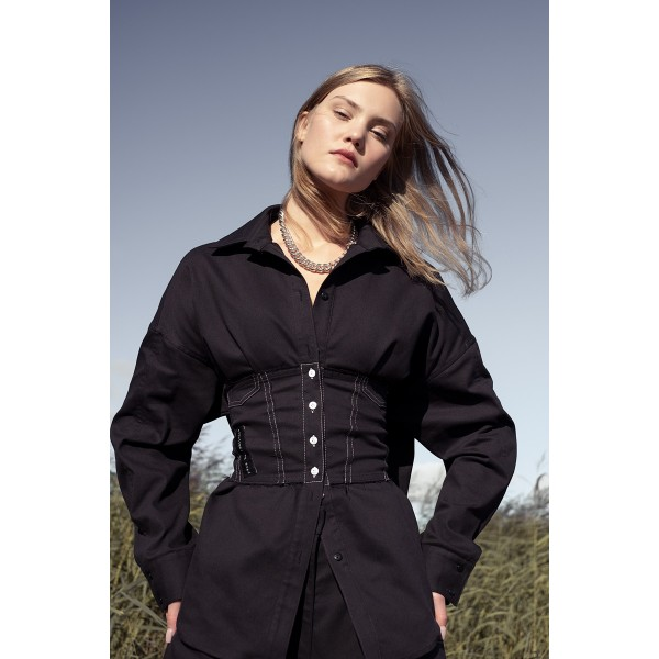 Black denim shirt with corset