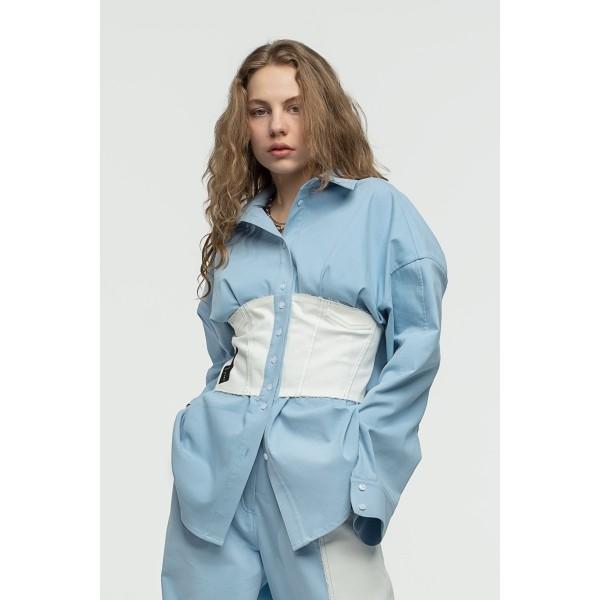 Blue denim shirt with white corset