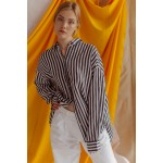 Striped black and white linen transformer shirt