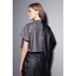 Asymmetric faux leather shirt (black+grey)