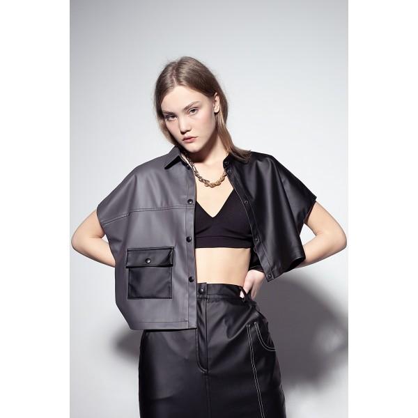 Asymmetric faux leather shirt (grey+black)