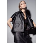 Asymmetric black faux leather shirt