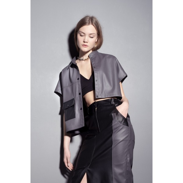 Asymmetric grey faux leather shirt