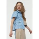Asymmetric faux leather shirt (blue + pearl grey)