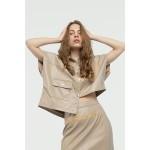 Asymmetric faux leather shirt pearl grey