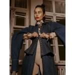 Samurai long-sleeved denim shirt with volumenous belt