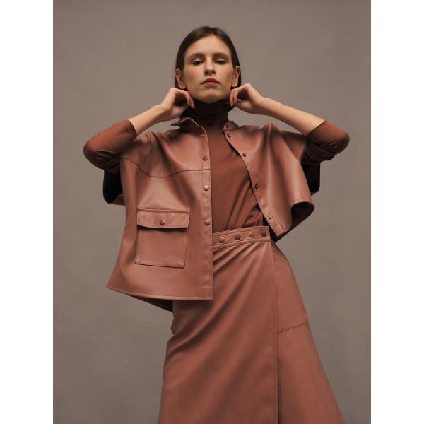 Dusty pink asymmetric faux leather shirt