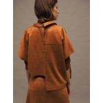 Caramel brown asymmetric faux suede shirt