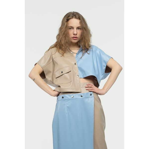 Asymmetric faux leather shirt (pearl grey + blue)