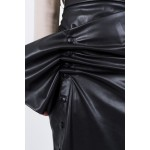 Black faux leather buttoned up transformer skirt
