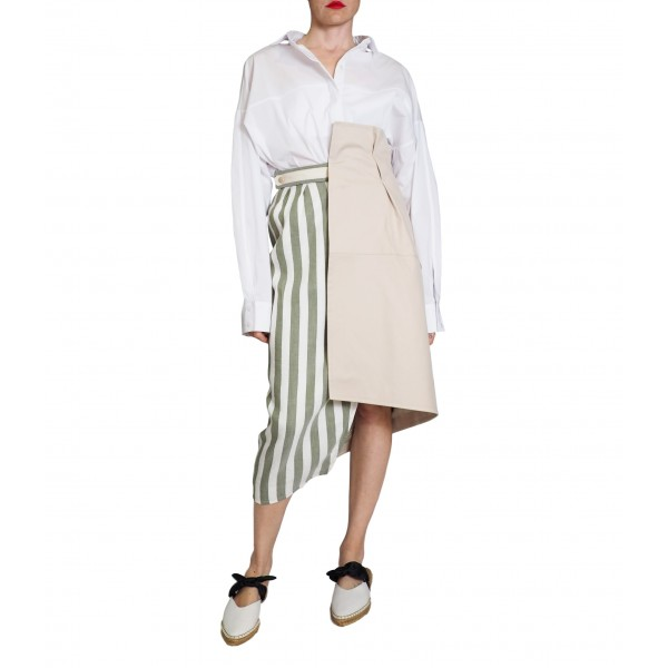 Wrap skirt with olive stripes