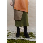 Caramel brown faux leather and khaki cotton wrap skirt