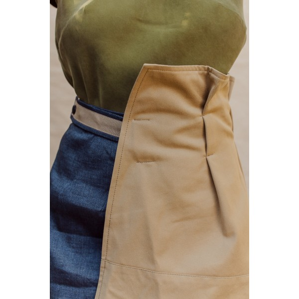 Navy linen and khaki cotton wrap skirt