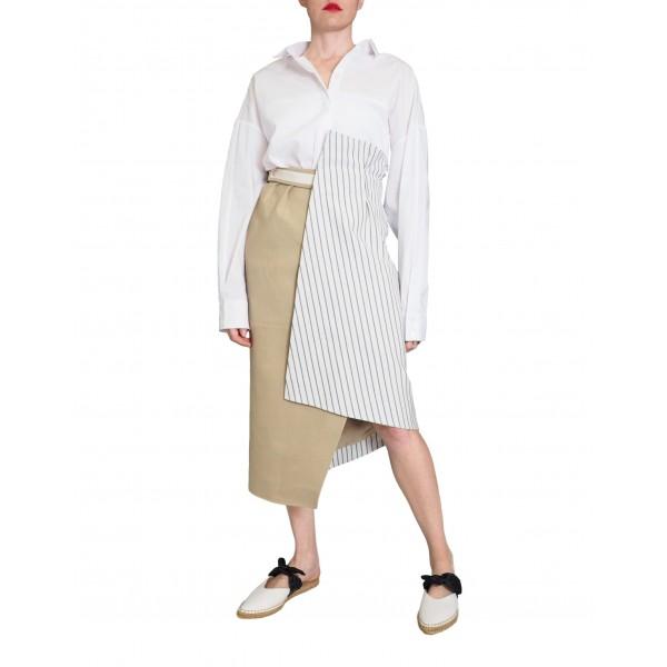 Denim wrap skirt with grey stripes
