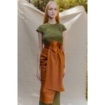 Caramel brown faux leather wrap skirt