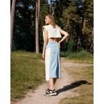 Blue denim skirt with white detail
