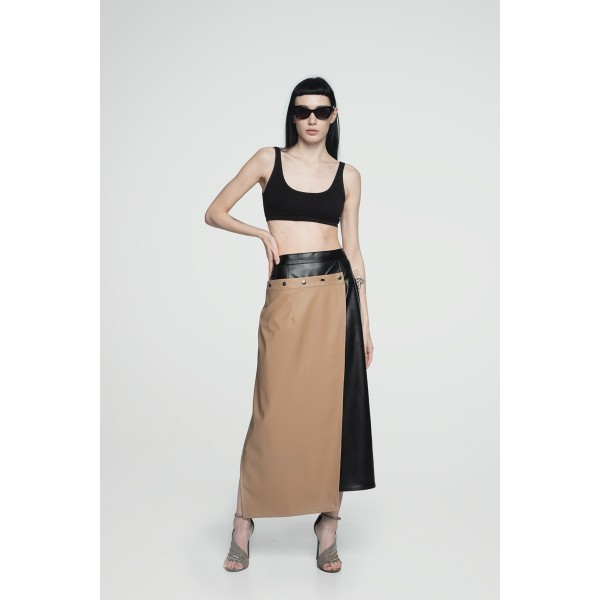 Faux leather transformer slit skirt  (black and beige)