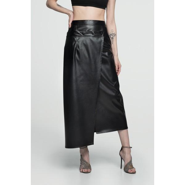 Faux leather transformer slit skirt black