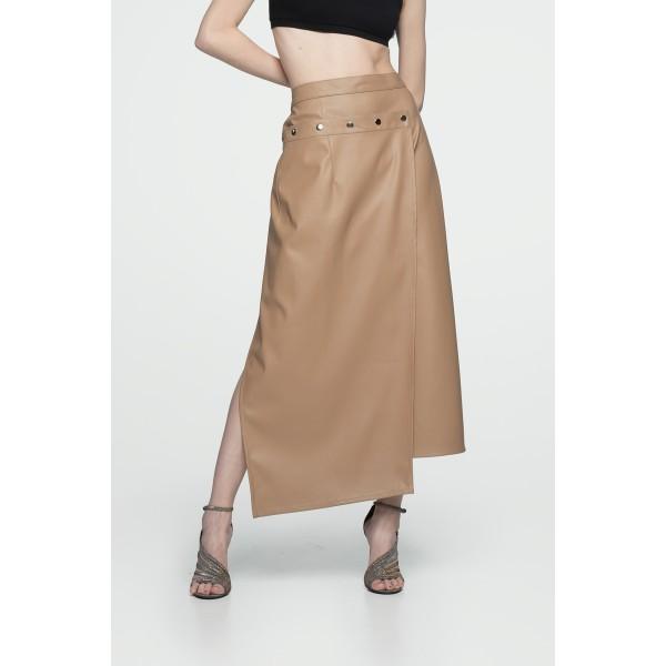 Faux leather transformer slit skirt beige