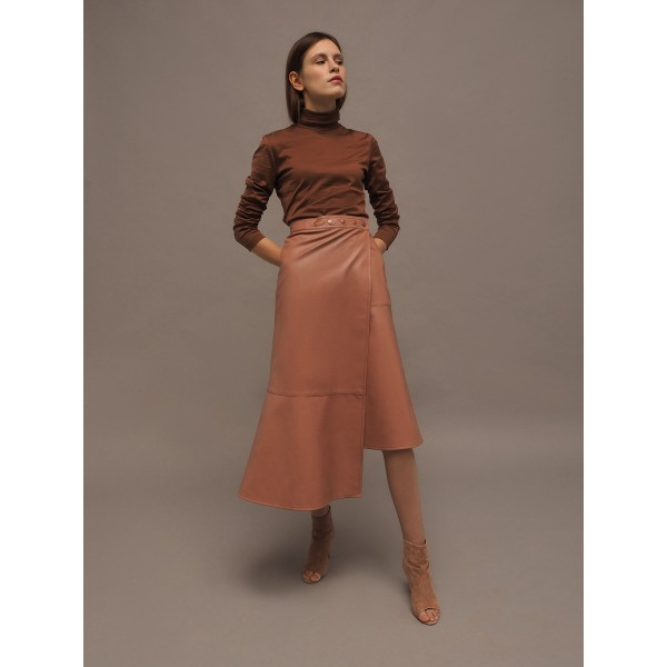 Dusty pink asymmetric faux leather skirt