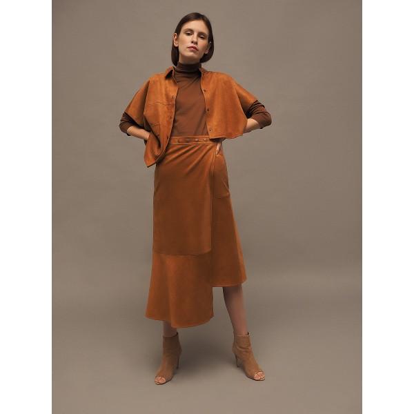 Caramel brown asymmetric faux suede skirt