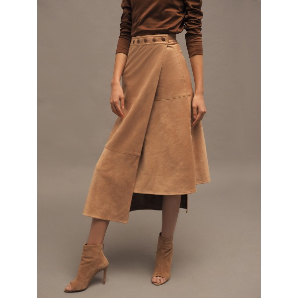 Beige asymmetric faux suede skirt