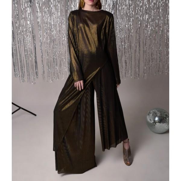 Golden black asymmetric suit