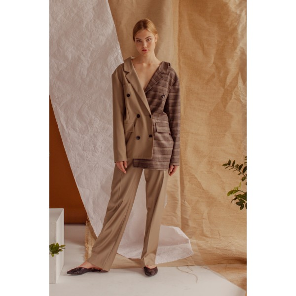 Camel and brown plaid transformer suit