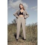 Sandy grey transformer suit with detachable striped grey front