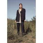 Striped black transformer suit with detachable sandy grey front