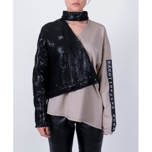 Asymmetric black lacquered wool and beige jersey buttoned top