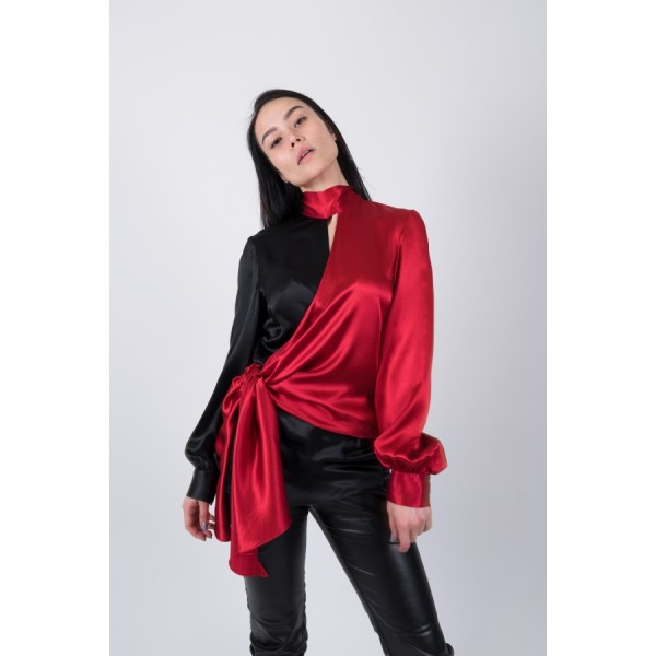 Black and red silk transformer blouse