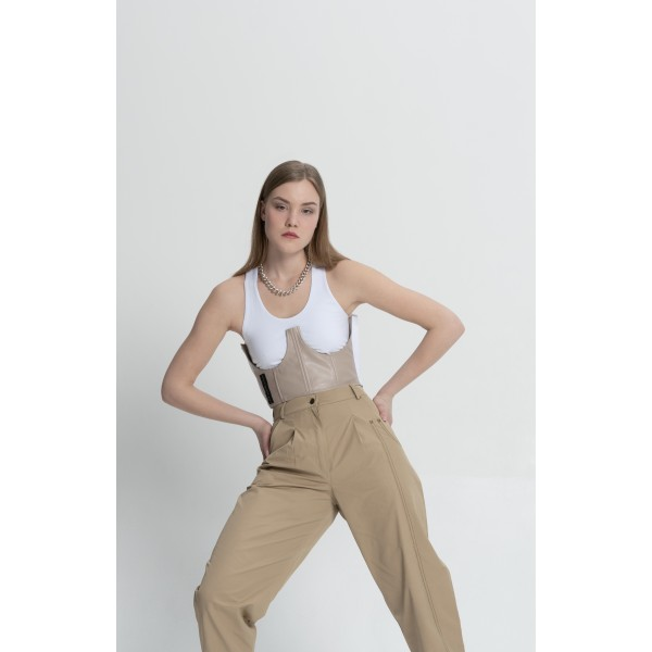 Top with gray-beige corset