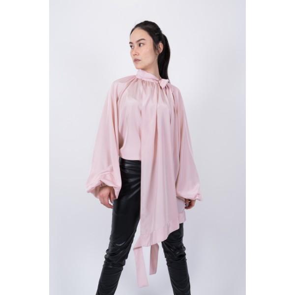 Blush rose silk blouse with voluminous sleeves