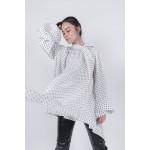 Black and white polka dot silk blouse with voluminous sleeves