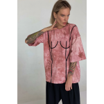 Basic T-Shirt with black applique (print tai-dai pink)