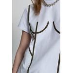 Basic T-Shirt with khaki applique