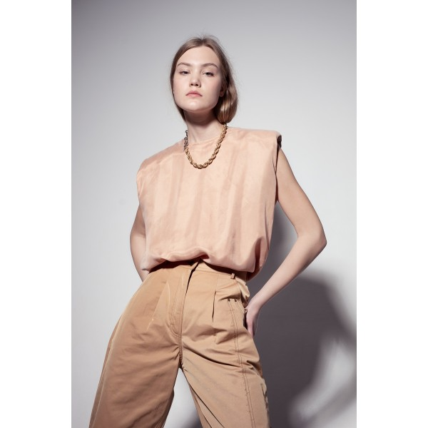 Nude top with shoulder pads