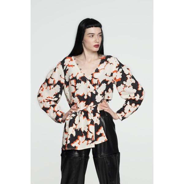 Jacquard transformer blouse