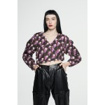 Printed cotton transformer blouse